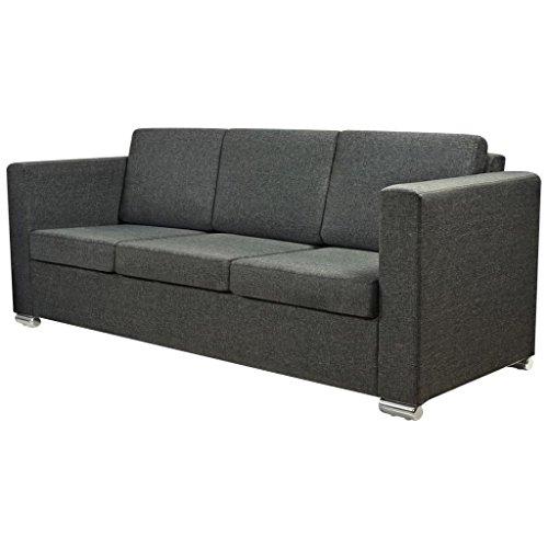 Vidaxl divano a 3 posti sofa casa salotto sala in stoffa con gambe grigio scuro