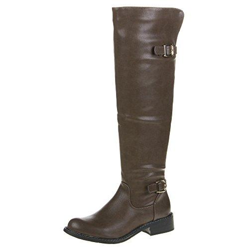 QQ-58, Chaussures pour femme, bottes Marron - Marron