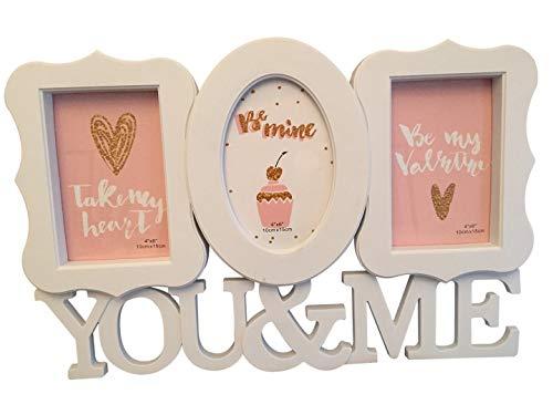 Lalia Fotorahmen Collage 3 Fotos, Herzform, XXL 45x30 cm, Liebsten/die Liebste, zur Hochzeit, zum Geburtstag, weiß, Kunststoff, romantisch 3 Fotos zu je 10x15cm (Design6)