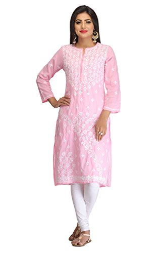 ADA Hand Embroidered Lucknow Chikan Womens Casual Cotton Kurta (A130721_Pink)