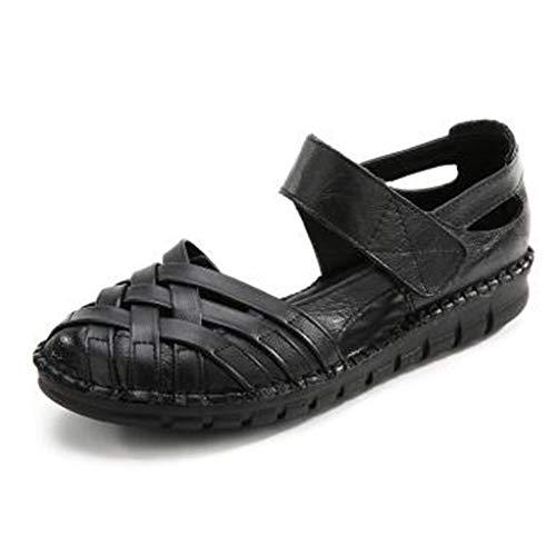 Talla de Flor de Las Mujeres Ahueca hacia Fuera los Mocasines Zapatos Cerrados con Punta de Gancho Mary Jane Sandalias Planas Zapatos
