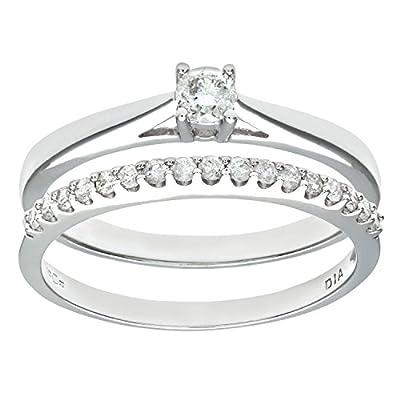 Naava 9ct White Gold 0.33ct Diamond Bridal Set Ring