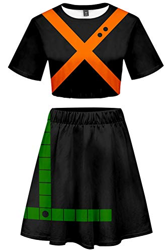 Xiemushop My Hero Academia 2 Stücke Bakugou Katsuki Outfits nackter Zwerchfell Kurzärmliges Crop Top + Kurzer Rock Setzt