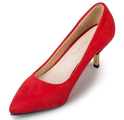 VogueZone009 Donna Puro Pelle Di Mucca Tacco Medio Punta Chiusa Scarpe A Punta Tirare Ballerine Rosso