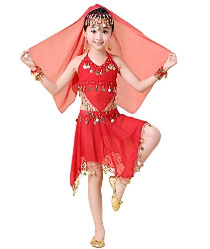 etrisch Rock Mädchen Tanzen Set Bauchtanz Kostüm Rot#3 (Tanzen Kostüme Für Kinder)