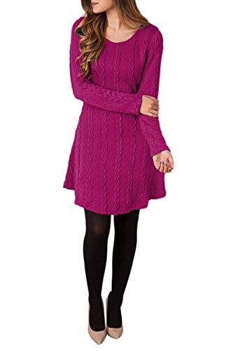YMING Donna Casual Sweater Dress Knitted Dress Knitwear Maglia manica lunga maglione Top Rosa