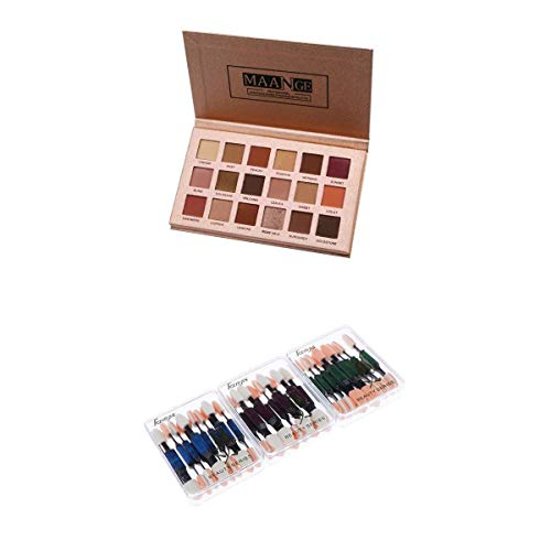 Fenteer 18 Couleurs Beauté Eyshadow Maquillage Palette Mat Shimmer Ombre à Paupières + 10pcs Pinceau à Deux Jetable Brosse Eponge pour Fard à Paupières