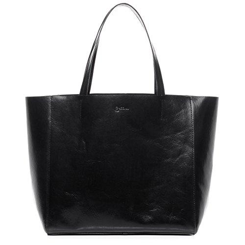 BACCINI® Handtasche mit langen Henkeln FRIDA - Damen Schultertasche XL groß Ledertasche 15 Zoll Laptop Handtasche Damentasche echt Leder schwarz (Tote Leder Große Schwarzes)