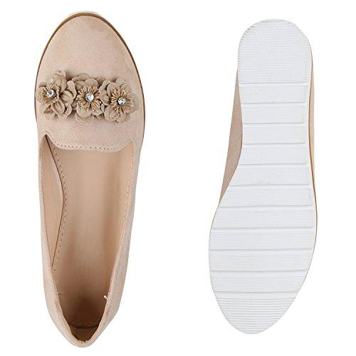 Damen Slipper Loafers Lack Metallic Schuhe Flats Profilsohle Creme Blumen