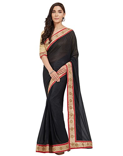 Viva N Diva Sarees For Women's Black Color Shimmer Georgette saree With...