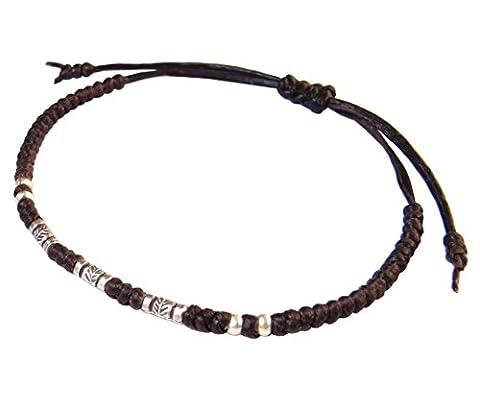 LUN NA Asiatique 100% Fait Main Argent 925 Perles de Plumes Bracelet Brun Ficelle de Cire