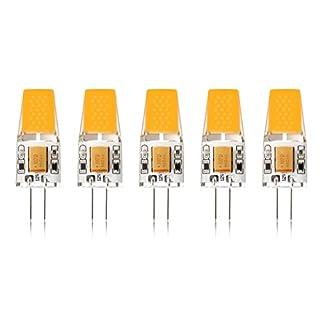 Ascher 5er Pack G4 LED 3W Lampe - vgl. 30W Halogen - 300 Lumen - G4 LED Warmweiß - AC/DC 12V- LED Leuchtmittel 360°