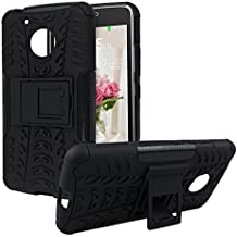 Rosa Schleife Silicon Bumper y PC Funda para Moto G5 Cubierta Superior Resistente con Pata de cabra Caso Híbrido Armadura Doble Capa de Absorbente de impactos Tapa Carcasa Trasera para Lenovo Moto G5 Smart Phone (5.0 Pulgadas) - Negro