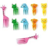 Hilai 10pcs Bento Kawaii Animal Alimento Frutas Picks Tenedores Fiambrera Caja Accesorio Decoración Herramienta