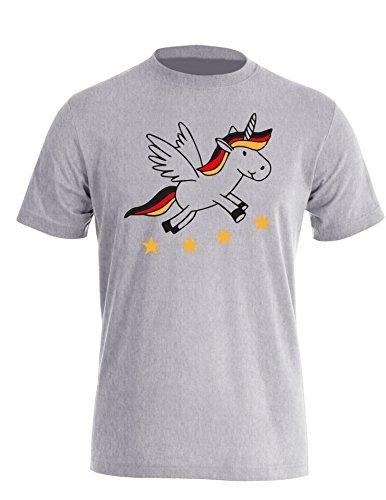 Deutschland Einhorn - Herren Rundhals T-Shirt Grau/Schwarz-Rot-Gelb