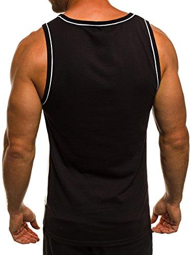 OZONEE Herren Tanktop Tank Top Tankshirt T-Shirt mit Print Unterhemden Ärmellos Weste Muskelshirt Fitness BLACK ROCK 51086 Schwarz