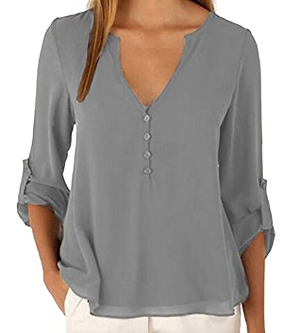 365-Shopping Damen Blusen Sommer V-Ausschnitt Langarm Lose Chiffon Blusen T-Shirt Tops (Asian L, Grau)