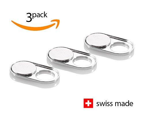 Soomz Webcam Abdeckung aus CHROMSTAHL | Hochwertig und dauerhaft | Swiss Made | Privacy-Schutz für Kamera | PC | Laptop | Handyzubehör | 3er Set
