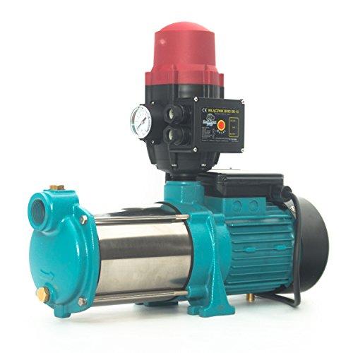 Kreiselpumpe Hauswasserwerk Gartenpumpe MHI1300 INOX 1300 Watt 6000 L/h 5,5 bar mit Schaltautomatik BRIO-SK13 inkl. Trockenlaufschutz