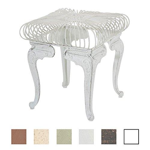 CLP Table de Jardin Carrée MELLE Ø 70 cm en Fer Forgé de Style Antique Nostalgique - Table d'Extérieur Taille 35 x 35 cm Idéale pour le Balcon ou la Terrasse - Table de Jardin de Différentes Couleurs blanc antique