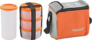 Nayasa Nebula Plastic Lunch Box, 4-Pieces, Orange