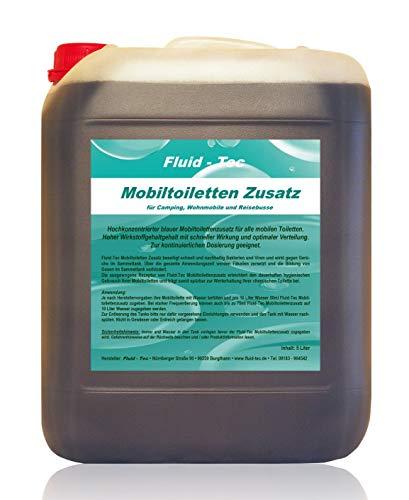 Fluid-Tec 1 x 5 Liter Kanister Mobiltoiletten Zusatz Konzentrat Sanitärflüssigkeit für Campingtoilette Chemietoilette Abwassertank + Auslaufhahn - für bis zu 1000 Ltr. Abwasser