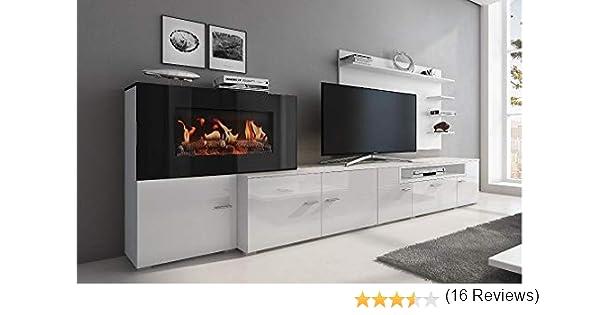 Home Innovation – Meuble de salon avec cheminée électrique à 5 niveaux de  flamme, finition Blanc Mat et laqué Blanc Brillant, mesures : 290 x 170 x  45 ...