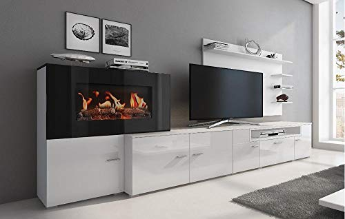 Home Innovation - Meuble de salon avec cheminée électrique à 5 niveaux de flamme, finition Blanc Mat et laqué Blanc Brillant, mesures : 290 x 170 x 45 cm de profondeur.