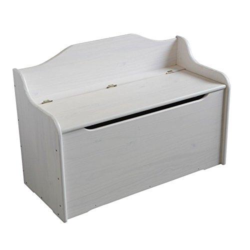 Coffre Banquette Pin Massif cérusé Blanc (H:62.5 cm x L:90 cm x P:40 cm)