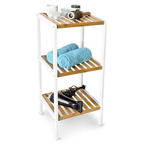 Relaxdays Bambus Regal mit 3 Fächern HBT: 80 x 35 x 31,5 cm Schickes Badregal mit 3 Ablagen aus natürlichem Holz Standregal als Küchenregal oder Holzregal zur Aufbewahrung im Badezimmer, weiß, natur