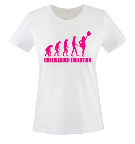 Comedy Shirts - CHEERLEADER EVOLUTION -Damen T-Shirt Weiss / Pink Gr. XXL (Designs T-shirt Cheerleader)