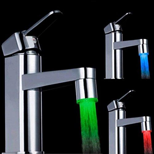 365-Shopping 2er Set 3-farbige LED Wasserhahn Design WaschtischarmaturenWasserhahnaufsatz Beleuchtung -