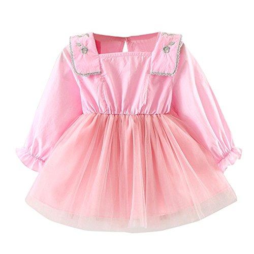 YEARNLY Mädchen Sommer Blume Kurze Ärmel Baumwolle Freizeit Stickerei Kleid Gaze Kleid Prinzessin ()