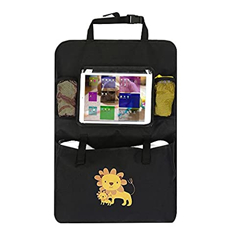 Iteasier Car Storage Organizer, Backseat Headrest iPad Tablets Stand Holder with Touch Screen, 3 Pockets for Baby Kid's Items, Smart Phone, Bottles etc During the Travel