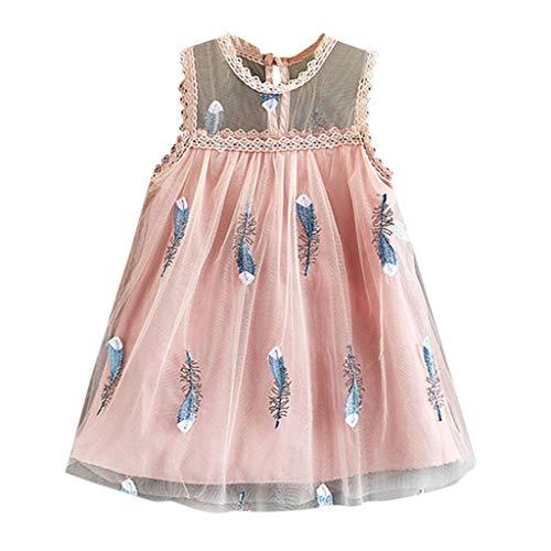 squarex Sommerkleinkind-Baby-ärmellose Feder-Stickerei Tulle Prinzessin Dress Clothes der Kinder Nette und Bequeme Freizeitkleidung