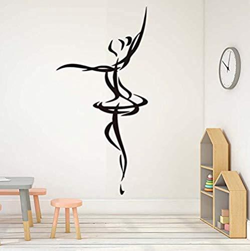Wandsticker Jhpingwandaufkleber Schlafzimmer Applique Ballerina Silhouette Einfache Kunst Vinyl Wandbehang Wandbild Abnehmbare Dekoration 59 * 29 Cm -