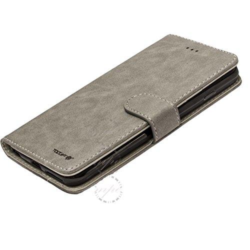 2in 1del cuoio staccabile custodia cover per Samsung Galaxy S7Edge S8Plus e Apple iPhone 6Plus 7 grigio Grey iPhone 7