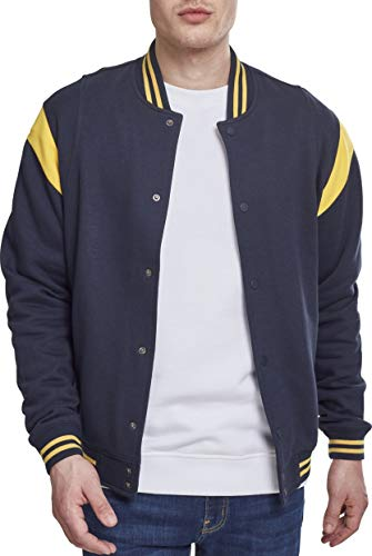 Urban Classics Herren Sweatjacke Inset College Sweat Jacket, Mehrfarbig (Navy/Chrome Yellow 01242), M