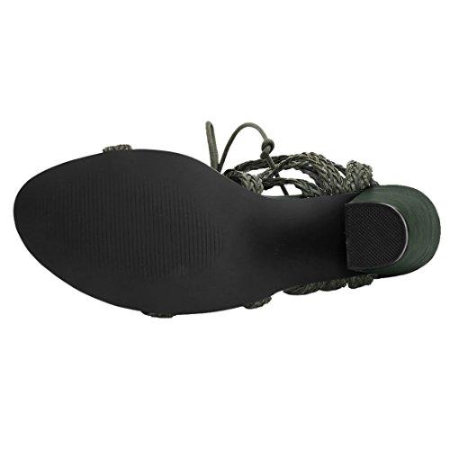 Allegra K Donna Tacco Grosso Intrecciata con Cinturini Lacci Sandali Nero US 8 Army Green