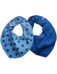 Pippi Juego de 2Baby Triángulo Toalla Cuello Babero Uni Azul & Azul Claro con estrellas