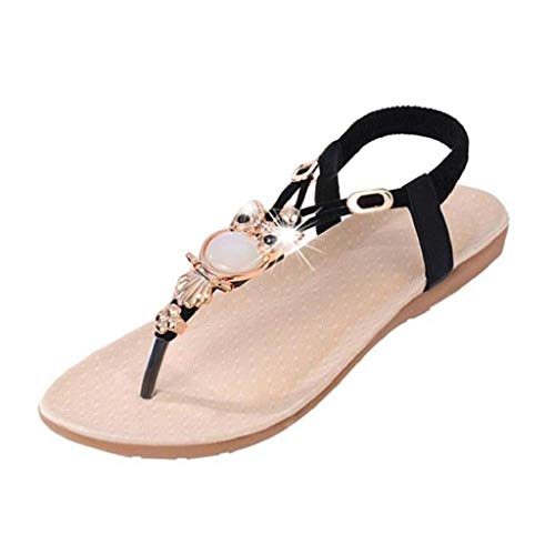 VJGOAL Damen Sandalen, Frauen Mädchen böhmischen Mode Flache beiläufige Sandalen Strand Sommer Flache Schuhe Frau Geschenk (40 EU, R-Schwarz)