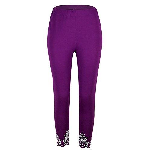 Italily -Donna Sport Yoga Stampa Allenamento a vita media Pantaloni Fitness Elastico Leggings Purple