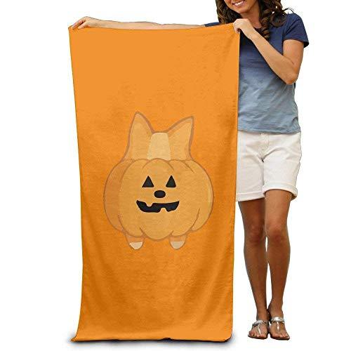 xcvgcxcvasda Cute Halloween Corgi Pumpkin Adults Cotton Beach Towel 31 X 51' Unique Pattern Design