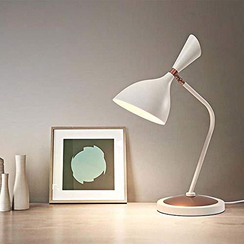 KUVV Perfecto LED Hardware Schmiedeeisen Matte Horn Lampe Lernen Schreibtischlampe Studie Post Moderne Einfache Verstellbare Nachttischlampe Beleuchtung Lampen 3 Farblicht (Farbe : White) -