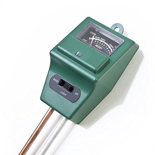 Digital-ph-skala (3in1 Bodentester, Digitales Bodenmessgerät, Digital pH Meter Messgerät, Boden Feuchtigkeitsmesser Lichtstärke Meter Tester für Gartenbau, Pflanzen, Rasenpflege, keine Batterie erforderlich)