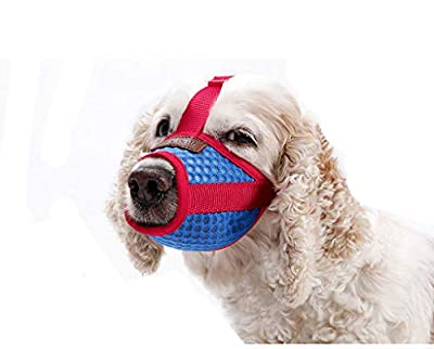 BbearT® Dog Muzzles,Soft Pet Mouth Cover Anti-Biting Anti-Barking Licking Air Mesh Adjustable Dog Muzzle for Small Dogs Medium Dogs Large Dogs by BbearT®