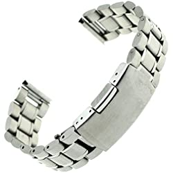 RECHERE Stainless Steel Bracelet Watch Band Strap Straight End Solid Links Color Silver