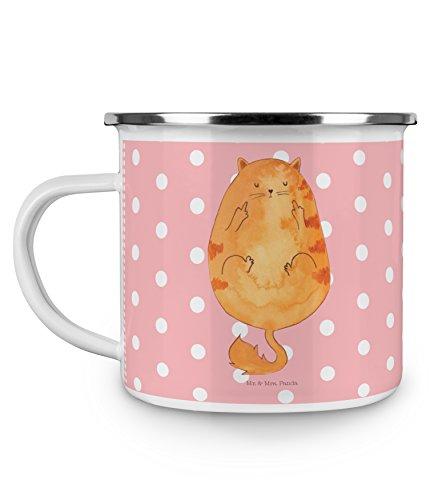 Mr. & Mrs. Panda Emaille Tasse Katze Frühaufsteher - 100% handmade in Norddeutschland - Becher, Kaffee, Kaffeebecher, Camping, Frühaufsteher, Kater, Emaille Tasse, Tasse, Morgenmuffel, Der frühe Vogel kann mich mal, Kaffeetasse, Katze