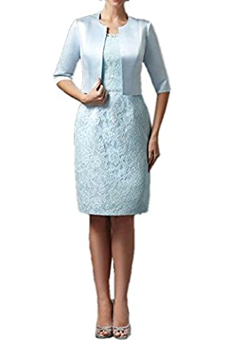 Royaldress Elegant Hell Blau Spitze Brautmutterkleider Abendkleider Partykleider Knielang etuikleider mit Bolero-40 Hell Blau