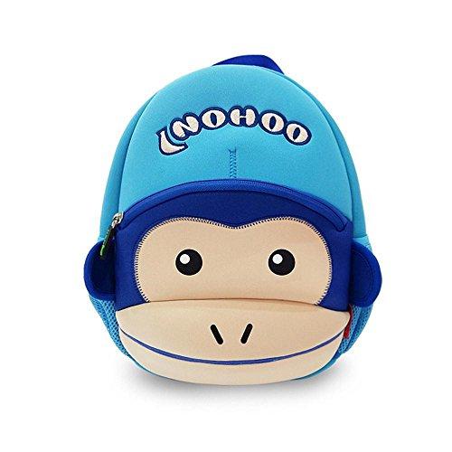 GreenForest bambini regalo bambino Zaini bambini zaino - Funny Money con cappello blu (12 * 9.1 * 4.1 pollici)-scimmia anno Natale regali per ragazze 3-8 anni